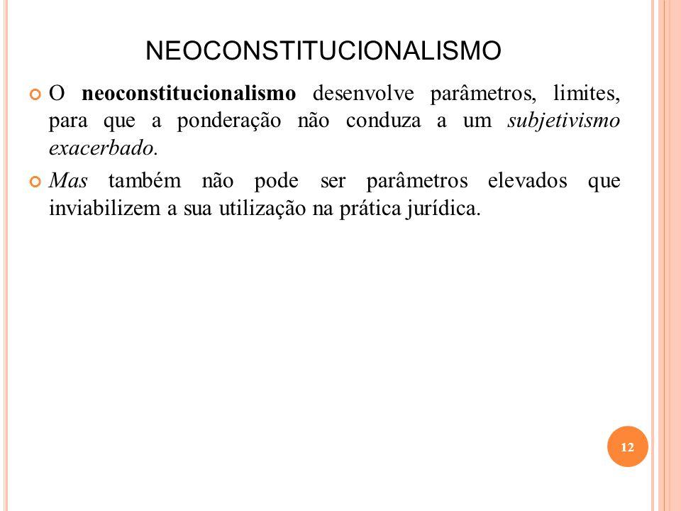 NEOCONSTITUCIONALISMO O neoconstitucionalismo desenvolve parâmetros, limites, para que a ponderação não conduza a um subjetivismo exacerbado. Mas tamb