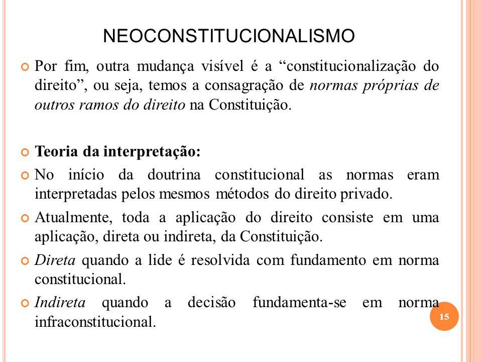 NEOCONSTITUCIONALISMO Por fim, outra mudança visível é a constitucionalização do direito, ou seja, temos a consagração de normas próprias de outros ra