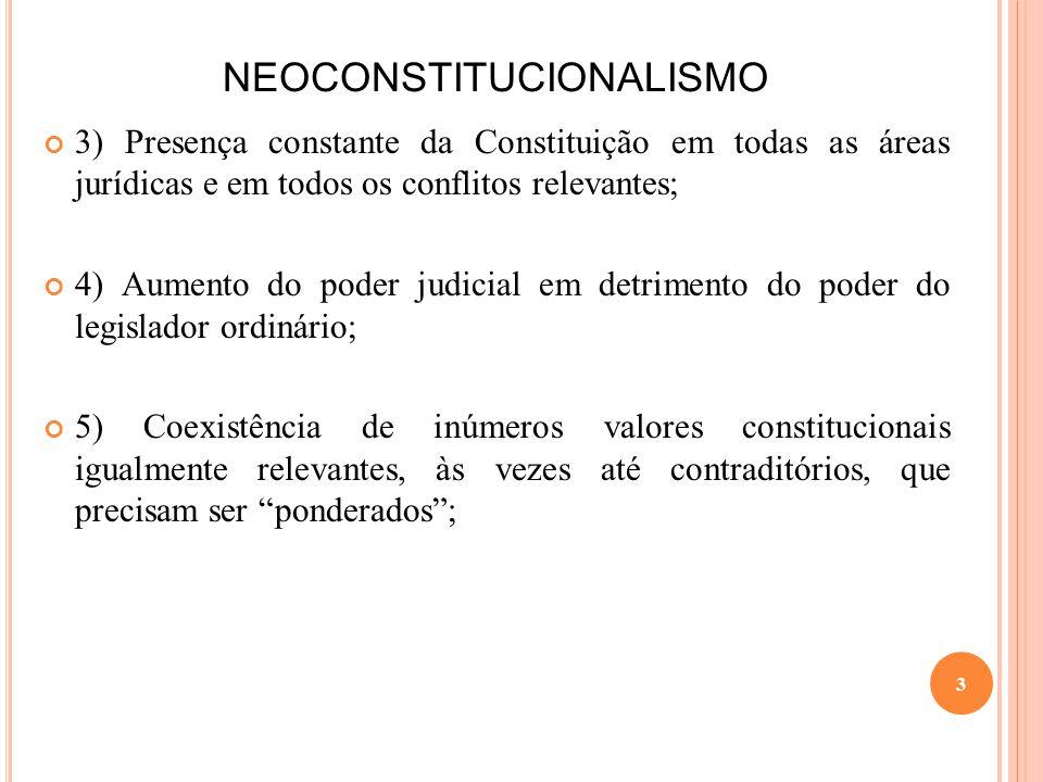 NEOCONSTITUCIONALISMO 3) Presença constante da Constituição em todas as áreas jurídicas e em todos os conflitos relevantes; 4) Aumento do poder judici