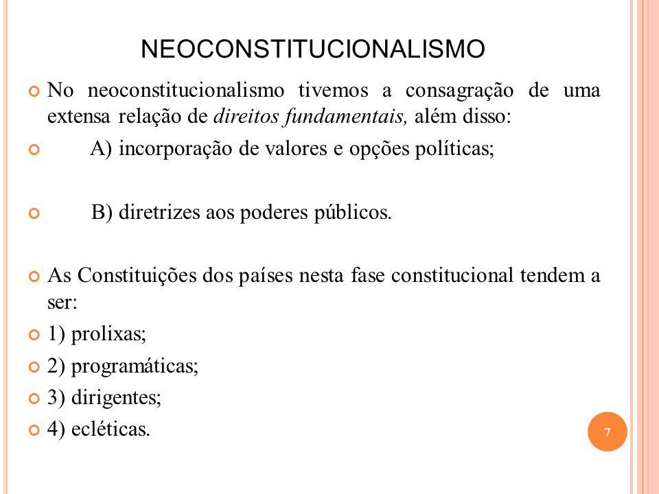 NEOCONSTITUCIONALISMO No neoconstitucionalismo tivemos a consagração de uma extensa relação de direitos fundamentais, além disso: A) incorporação de v