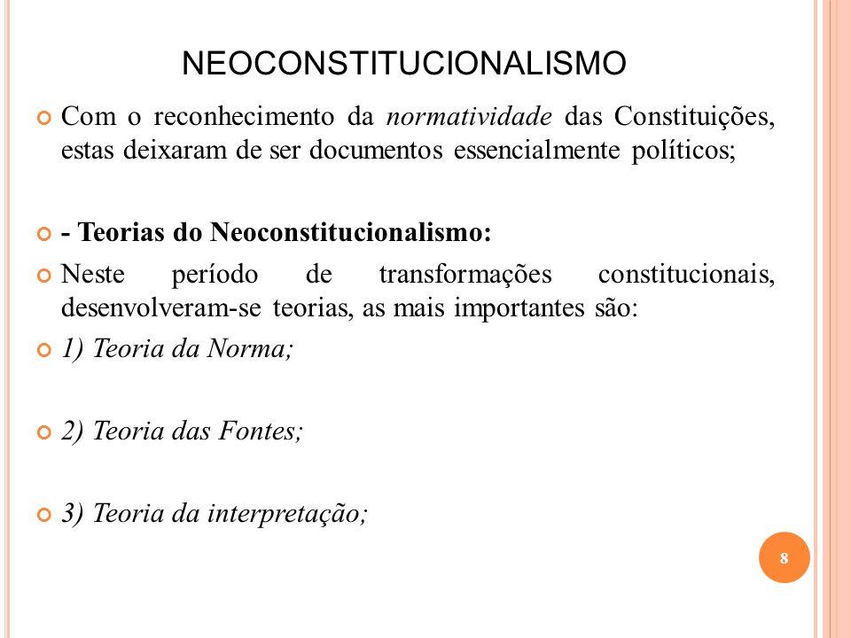 NEOCONSTITUCIONALISMO Com o reconhecimento da normatividade das Constituições, estas deixaram de ser documentos essencialmente políticos; - Teorias do