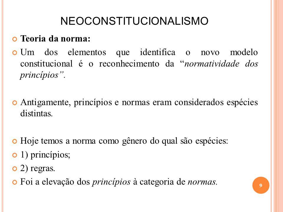 NEOCONSTITUCIONALISMO Teoria da norma: Um dos elementos que identifica o novo modelo constitucional é o reconhecimento da normatividade dos princípios