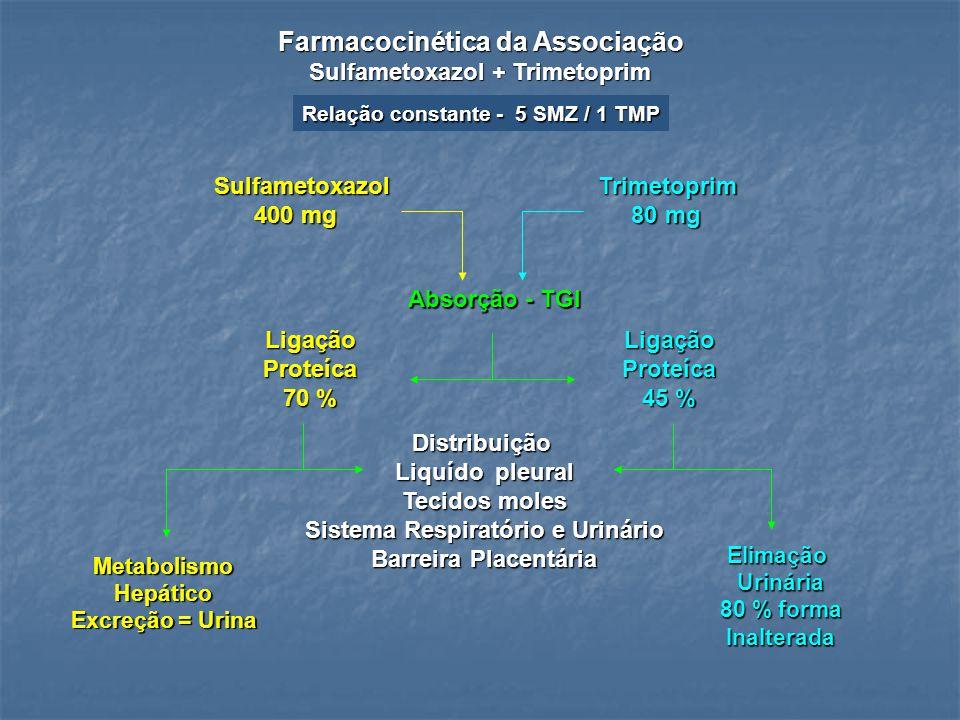 Farmacocinética da Associação Sulfametoxazol + Trimetoprim SulfametoxazolTrimetoprim 400 mg 80 mg 400 mg 80 mg Absorção - TGI LigaçãoProteíca 70 % Lig