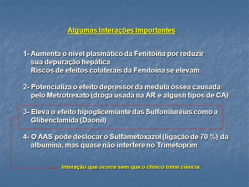 Algumas Interações Importantes 1- Aumenta o nível plasmático da Fenitóina por reduzir sua depuração hepática sua depuração hepática Riscos de efeitos