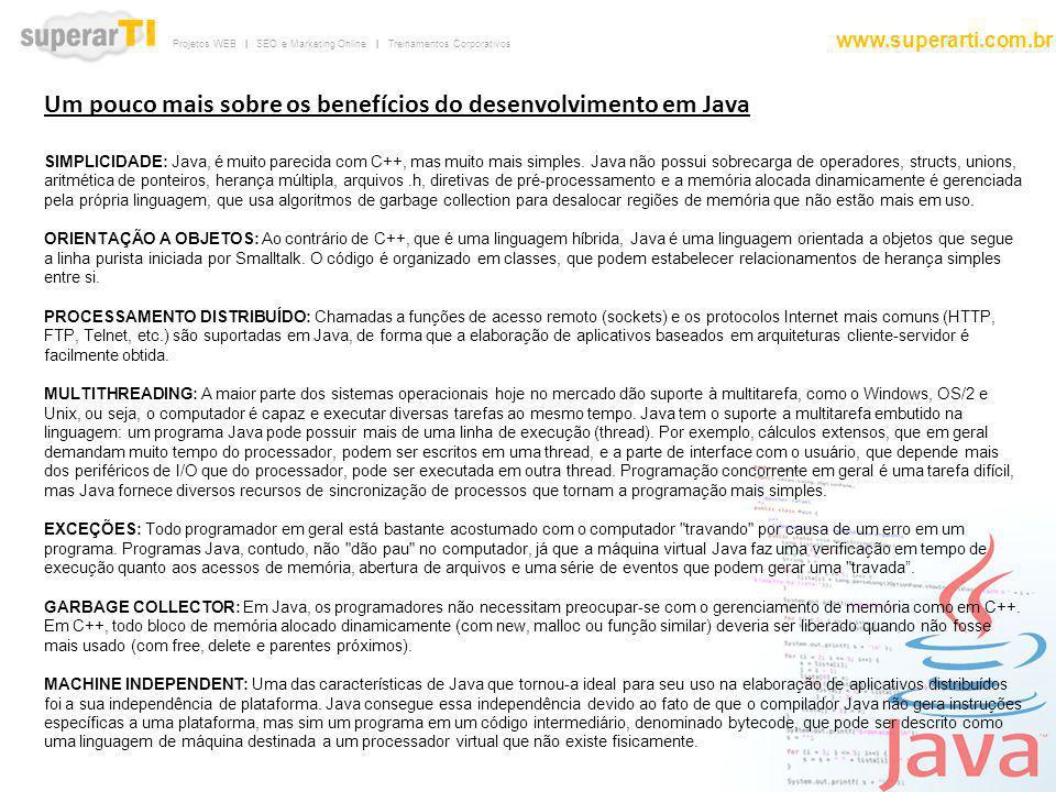 Projetos WEB | SEO e Marketing Online | Treinamentos Corporativos www.superarti.com.br Um pouco mais sobre os benefícios do desenvolvimento em Java SI