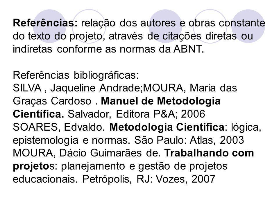 Referências: relação dos autores e obras constante do texto do projeto, através de citações diretas ou indiretas conforme as normas da ABNT. Referênci