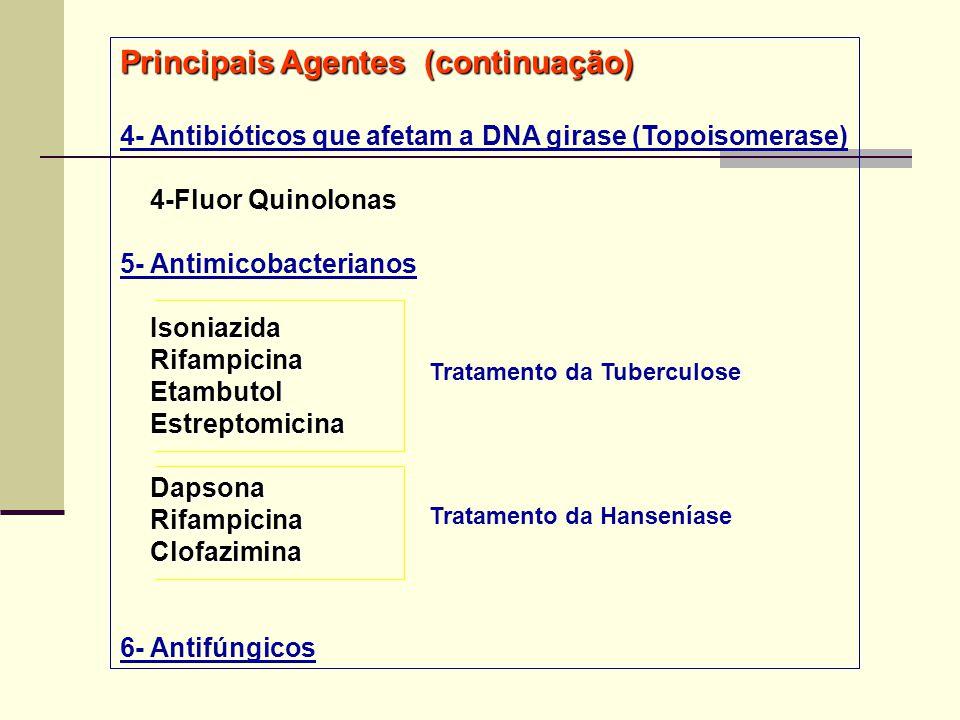 Principais Agentes (continuação) 4- Antibióticos que afetam a DNA girase (Topoisomerase) 4-Fluor Quinolonas 4-Fluor Quinolonas 5- Antimicobacterianos