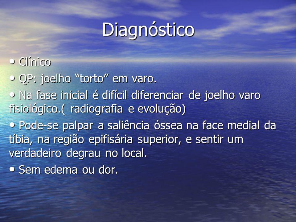 Diagnóstico Clínico Clínico QP: joelho torto em varo. QP: joelho torto em varo. Na fase inicial é difícil diferenciar de joelho varo fisiológico.( rad