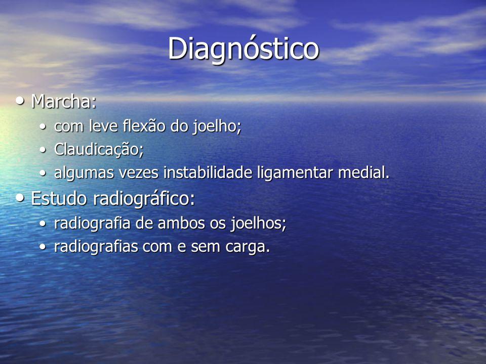 Diagnóstico Marcha: Marcha: com leve flexão do joelho;com leve flexão do joelho; Claudicação;Claudicação; algumas vezes instabilidade ligamentar media