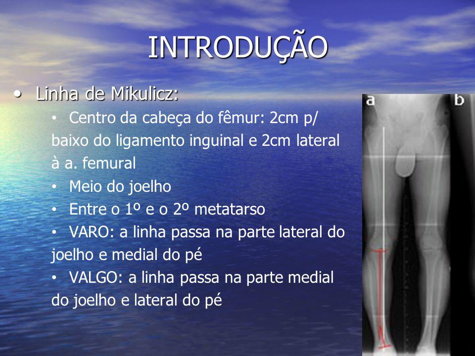 INTRODUÇÃO Linha de Mikulicz: Linha de Mikulicz: Centro da cabeça do fêmur: 2cm p/ baixo do ligamento inguinal e 2cm lateral à a. femural Meio do joel