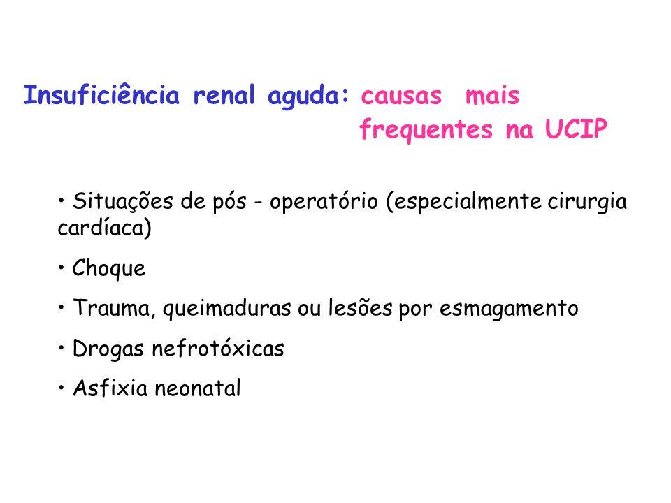Insuficiência renal aguda: causas mais frequentes na UCIP Situações de pós - operatório (especialmente cirurgia cardíaca) Choque Trauma, queimaduras ou lesões por esmagamento Drogas nefrotóxicas Asfixia neonatal
