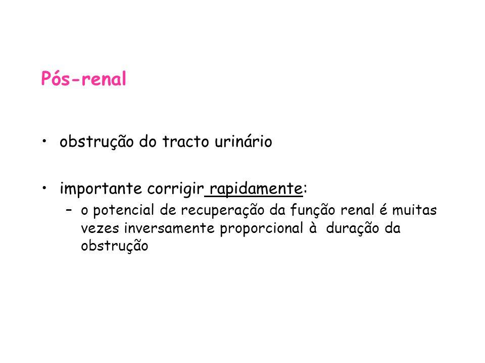 Pós-renal obstrução do tracto urinário importante corrigir rapidamente: –o potencial de recuperação da função renal é muitas vezes inversamente proporcional à duração da obstrução