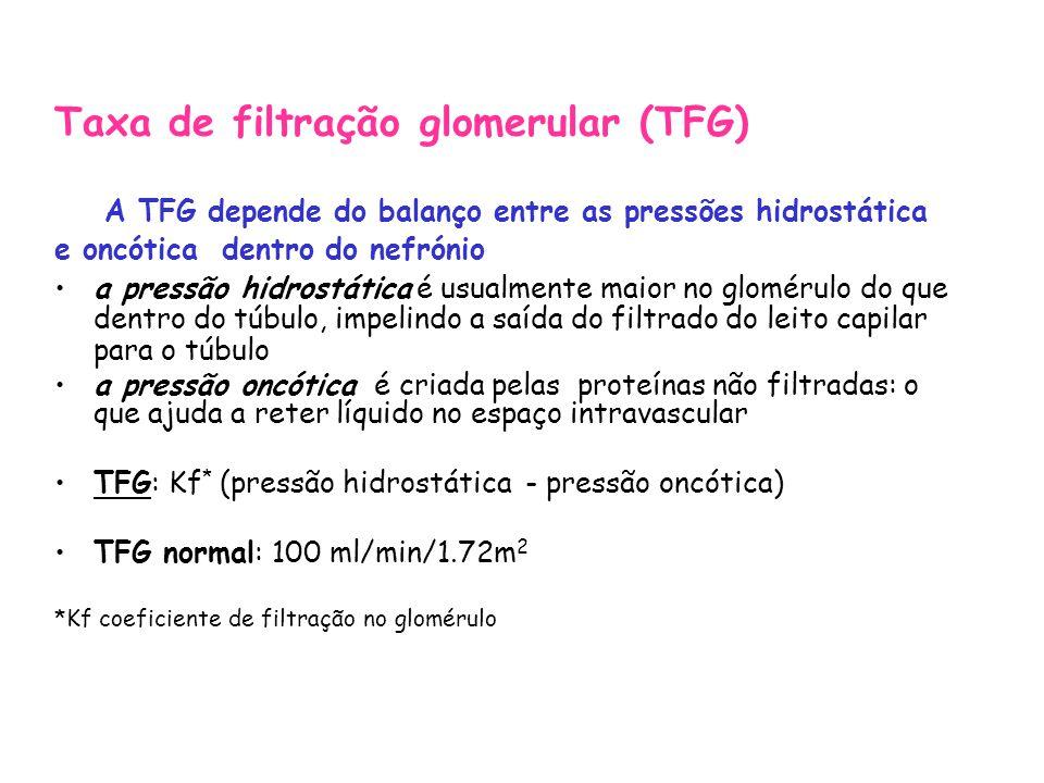 Taxa de filtração glomerular (TFG) A TFG depende do balanço entre as pressões hidrostática e oncótica dentro do nefrónio a pressão hidrostática é usualmente maior no glomérulo do que dentro do túbulo, impelindo a saída do filtrado do leito capilar para o túbulo a pressão oncótica é criada pelas proteínas não filtradas: o que ajuda a reter líquido no espaço intravascular TFG: Kf * (pressão hidrostática - pressão oncótica) TFG normal: 100 ml/min/1.72m 2 *Kf coeficiente de filtração no glomérulo