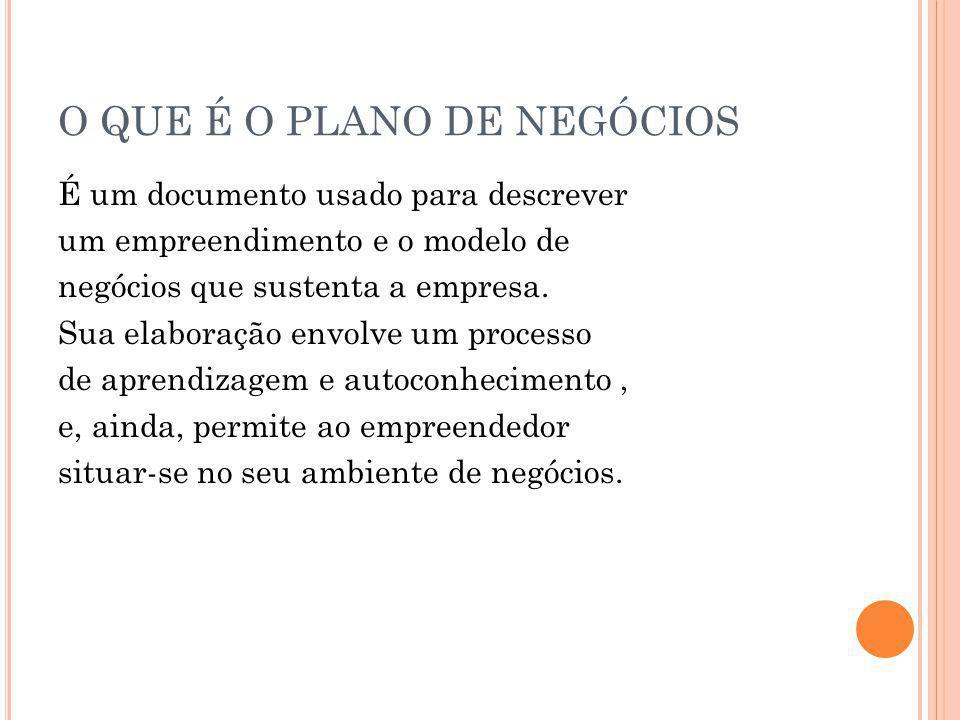 O QUE É O PLANO DE NEGÓCIOS É um documento usado para descrever um empreendimento e o modelo de negócios que sustenta a empresa. Sua elaboração envolv
