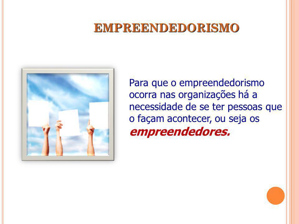 EMPREENDEDORISMO Para que o empreendedorismo ocorra nas organizações há a necessidade de se ter pessoas que o façam acontecer, ou seja os empreendedor