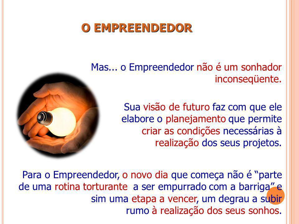 O EMPREENDEDOR O EMPREENDEDOR Mas... o Empreendedor não é um sonhador inconseqüente. Sua visão de futuro faz com que ele elabore o planejamento que pe