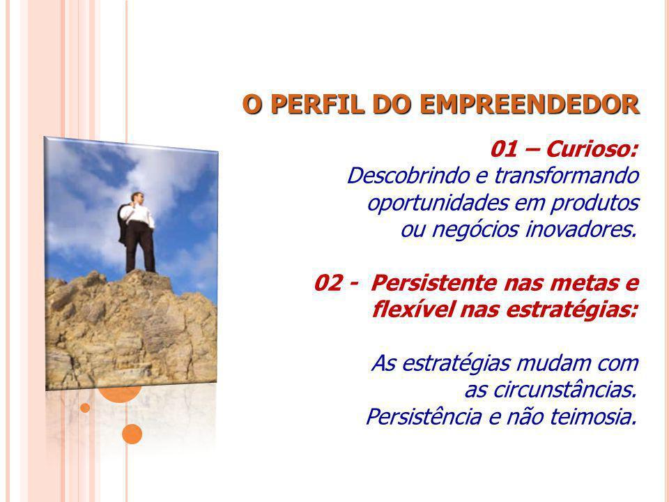 O PERFIL DO EMPREENDEDOR 01 – Curioso: Descobrindo e transformando oportunidades em produtos ou negócios inovadores. 02 - Persistente nas metas e flex
