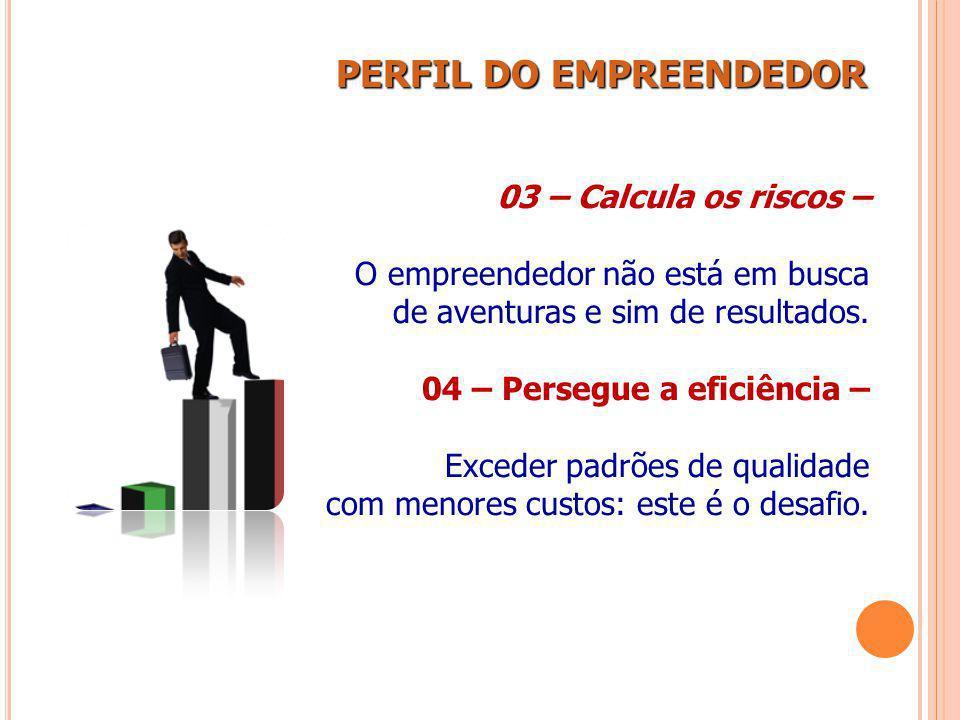 PERFIL DO EMPREENDEDOR PERFIL DO EMPREENDEDOR 03 – Calcula os riscos – O empreendedor não está em busca de aventuras e sim de resultados. 04 – Persegu