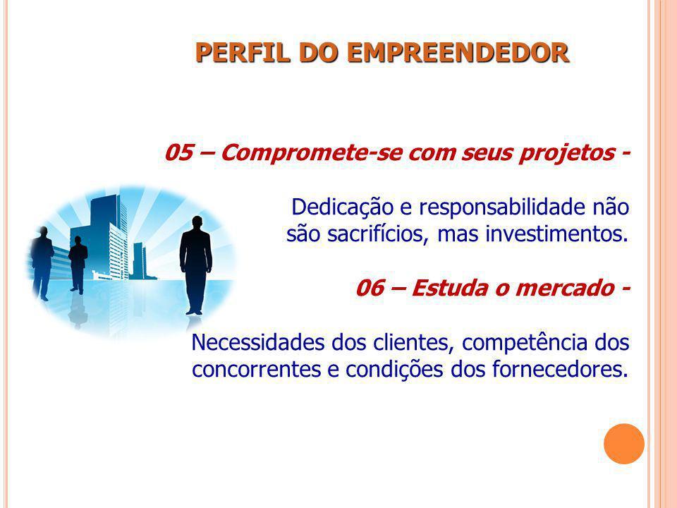 PERFIL DO EMPREENDEDOR PERFIL DO EMPREENDEDOR 05 – Compromete-se com seus projetos - Dedicação e responsabilidade não são sacrifícios, mas investiment