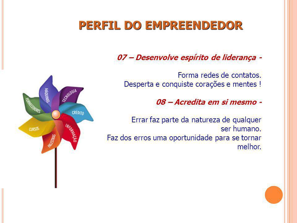 PERFIL DO EMPREENDEDOR PERFIL DO EMPREENDEDOR 07 – Desenvolve espírito de liderança - Forma redes de contatos. Desperta e conquiste corações e mentes
