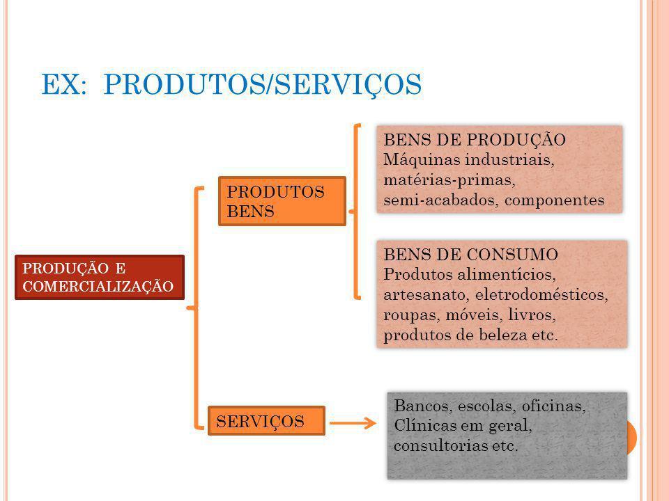 EX: PRODUTOS/SERVIÇOS PRODUÇÃO E COMERCIALIZAÇÃO PRODUTOS BENS SERVIÇOS BENS DE PRODUÇÃO Máquinas industriais, matérias-primas, semi-acabados, compone
