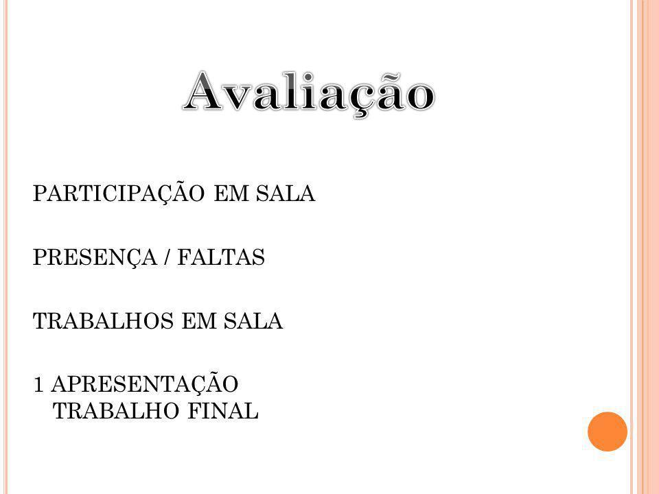 PARTICIPAÇÃO EM SALA PRESENÇA / FALTAS TRABALHOS EM SALA 1 APRESENTAÇÃO TRABALHO FINAL