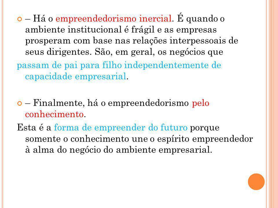 – Há o empreendedorismo inercial. É quando o ambiente institucional é frágil e as empresas prosperam com base nas relações interpessoais de seus dirig
