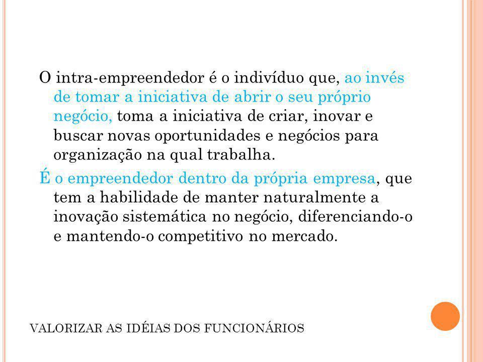 O intra-empreendedor é o indivíduo que, ao invés de tomar a iniciativa de abrir o seu próprio negócio, toma a iniciativa de criar, inovar e buscar nov