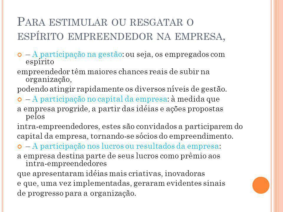 P ARA ESTIMULAR OU RESGATAR O ESPÍRITO EMPREENDEDOR NA EMPRESA, – A participação na gestão: ou seja, os empregados com espírito empreendedor têm maior