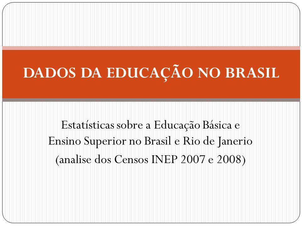 Estatísticas sobre a Educação Básica e Ensino Superior no Brasil e Rio de Janerio (analise dos Censos INEP 2007 e 2008) DADOS DA EDUCAÇÃO NO BRASIL
