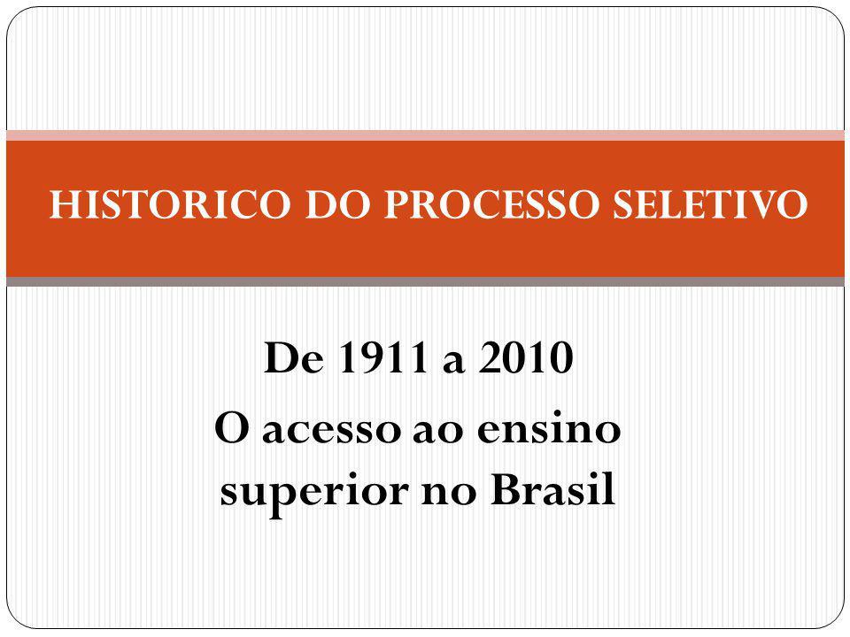 De 1911 a 2010 O acesso ao ensino superior no Brasil HISTORICO DO PROCESSO SELETIVO