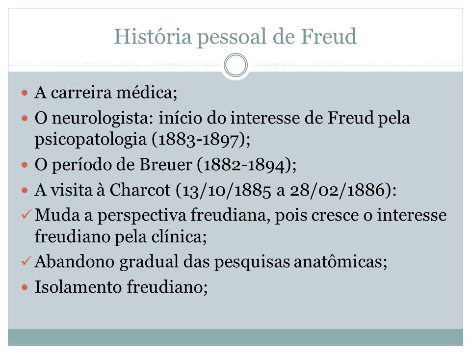 História pessoal de Freud A carreira médica; O neurologista: início do interesse de Freud pela psicopatologia (1883-1897); O período de Breuer (1882-1894); A visita à Charcot (13/10/1885 a 28/02/1886): Muda a perspectiva freudiana, pois cresce o interesse freudiano pela clínica; Abandono gradual das pesquisas anatômicas; Isolamento freudiano;