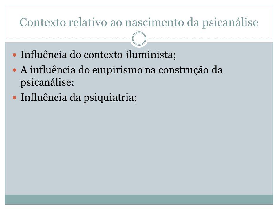 Contexto relativo ao nascimento da psicanálise Influência do contexto iluminista; A influência do empirismo na construção da psicanálise; Influência da psiquiatria;