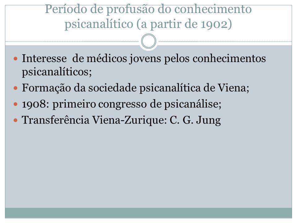 Período de profusão do conhecimento psicanalítico (a partir de 1902) Interesse de médicos jovens pelos conhecimentos psicanalíticos; Formação da socie