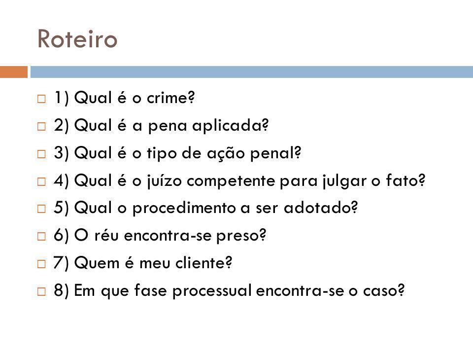 Roteiro 1) Qual é o crime.2) Qual é a pena aplicada.