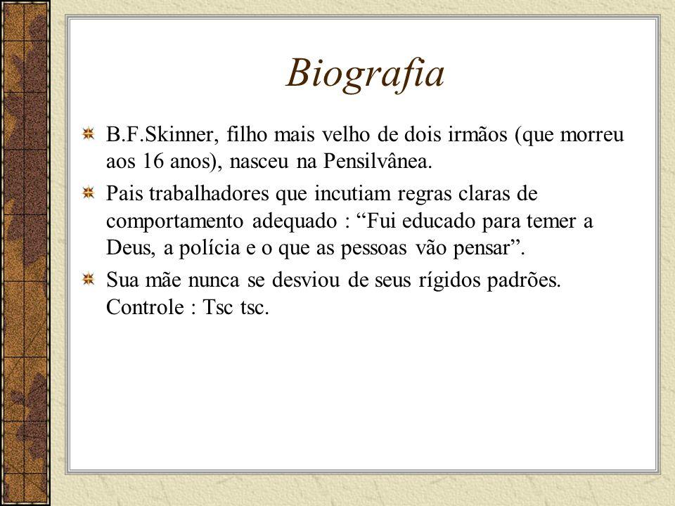 Biografia B.F.Skinner, filho mais velho de dois irmãos (que morreu aos 16 anos), nasceu na Pensilvânea.