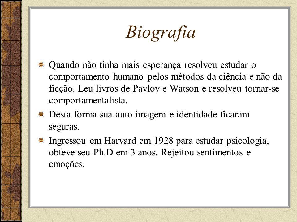 Biografia Quando não tinha mais esperança resolveu estudar o comportamento humano pelos métodos da ciência e não da ficção.