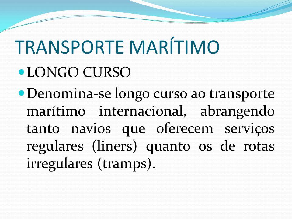 TRANSPORTE MARÍTIMO LONGO CURSO Denomina-se longo curso ao transporte marítimo internacional, abrangendo tanto navios que oferecem serviços regulares