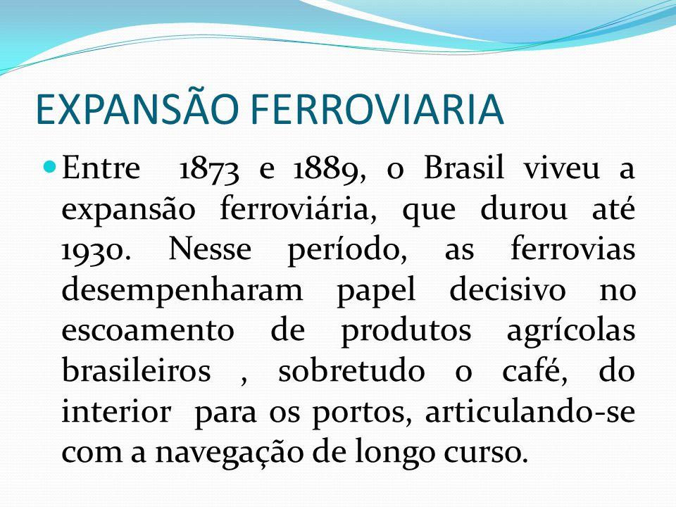 EXPANSÃO FERROVIARIA Entre 1873 e 1889, o Brasil viveu a expansão ferroviária, que durou até 1930. Nesse período, as ferrovias desempenharam papel dec