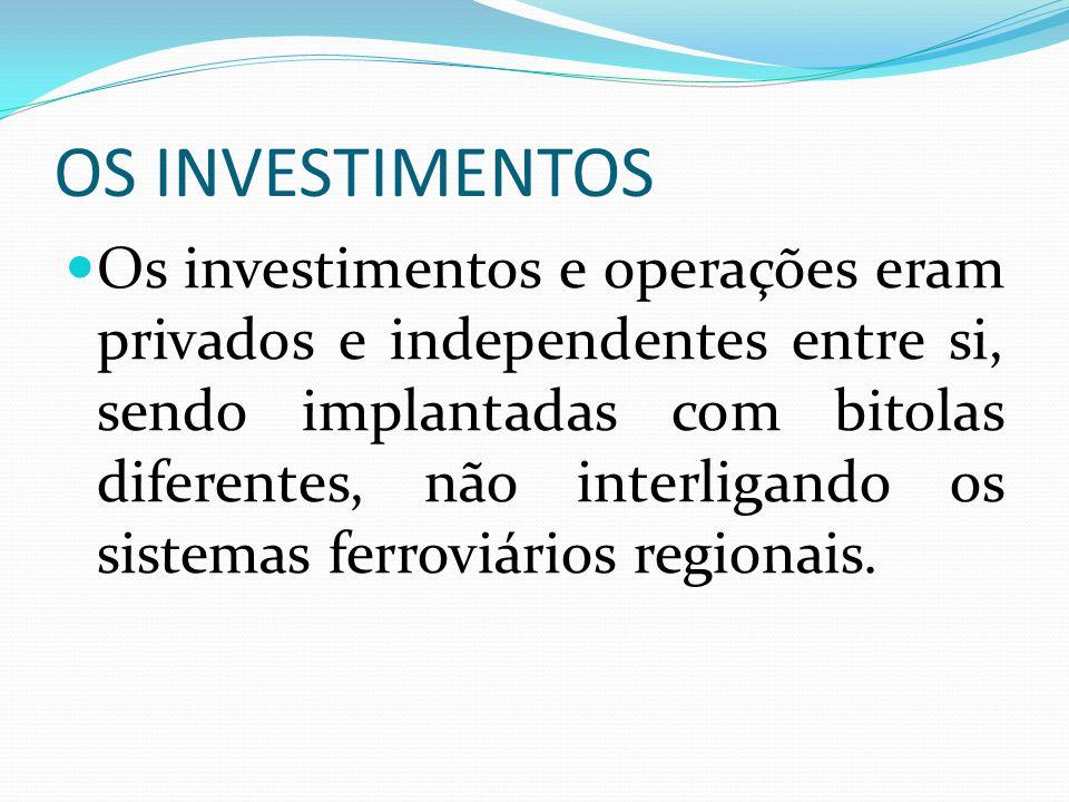 OS INVESTIMENTOS Os investimentos e operações eram privados e independentes entre si, sendo implantadas com bitolas diferentes, não interligando os si