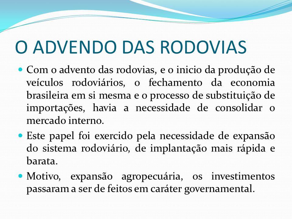 O ADVENDO DAS RODOVIAS Com o advento das rodovias, e o inicio da produção de veículos rodoviários, o fechamento da economia brasileira em si mesma e o
