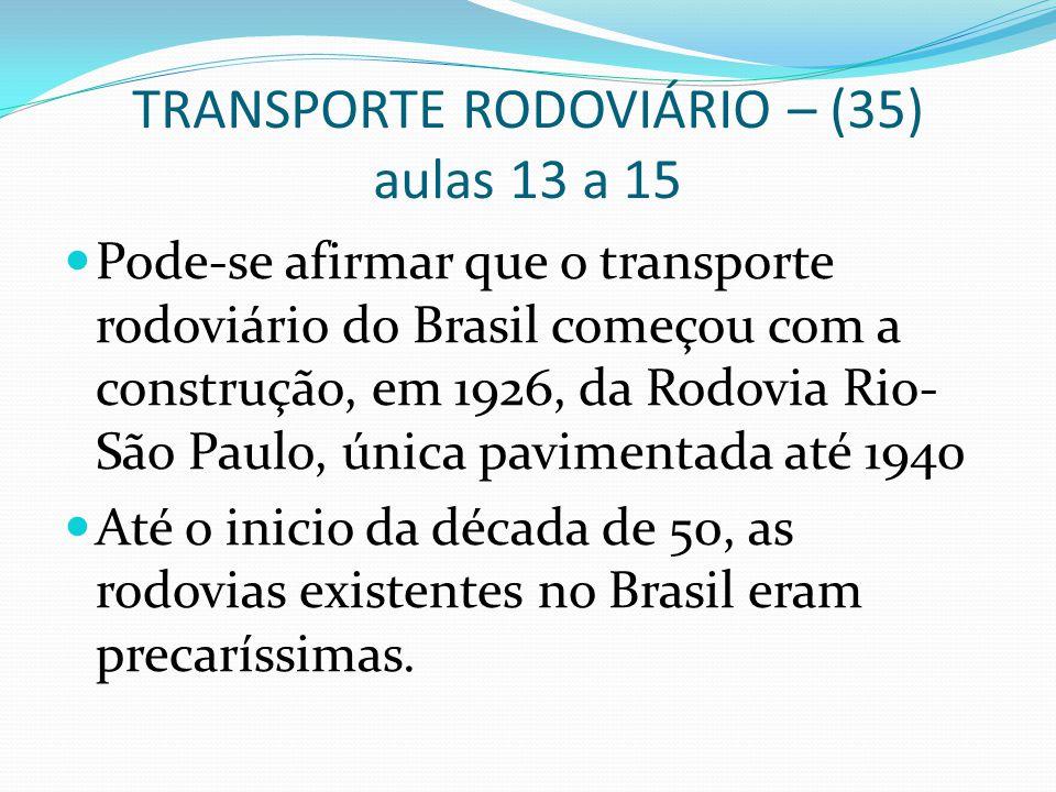TRANSPORTE RODOVIÁRIO – (35) aulas 13 a 15 Pode-se afirmar que o transporte rodoviário do Brasil começou com a construção, em 1926, da Rodovia Rio- Sã