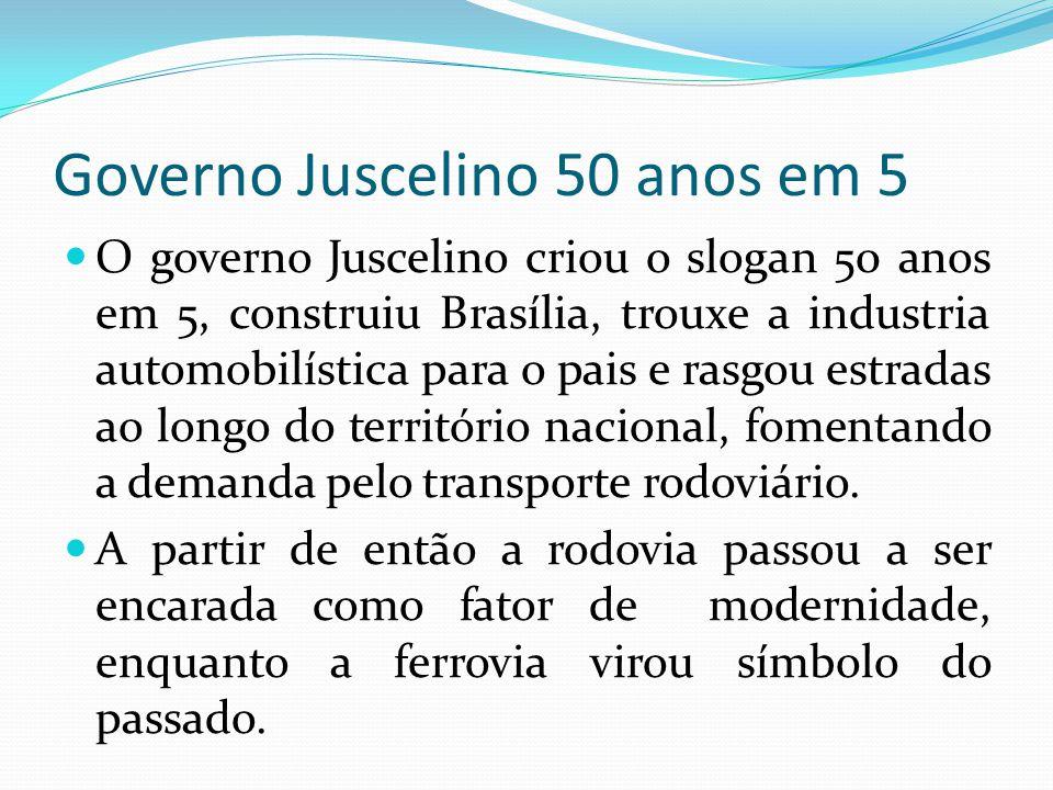 Governo Juscelino 50 anos em 5 O governo Juscelino criou o slogan 50 anos em 5, construiu Brasília, trouxe a industria automobilística para o pais e r