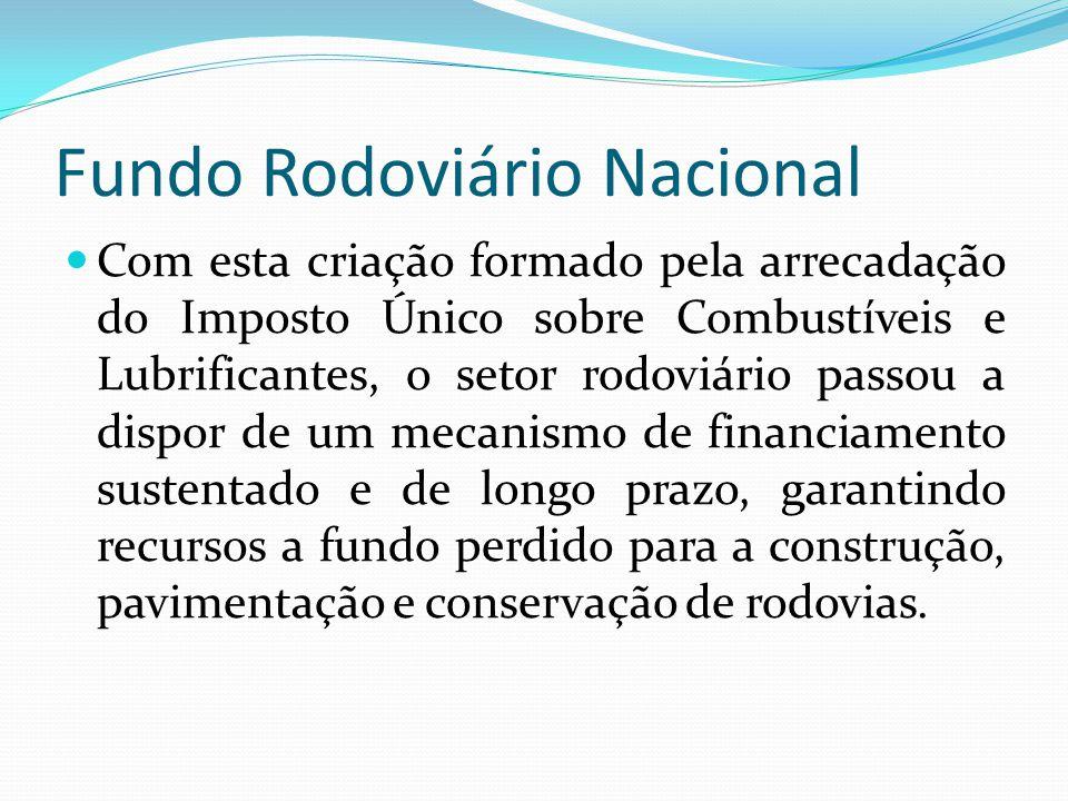 Fundo Rodoviário Nacional Com esta criação formado pela arrecadação do Imposto Único sobre Combustíveis e Lubrificantes, o setor rodoviário passou a d