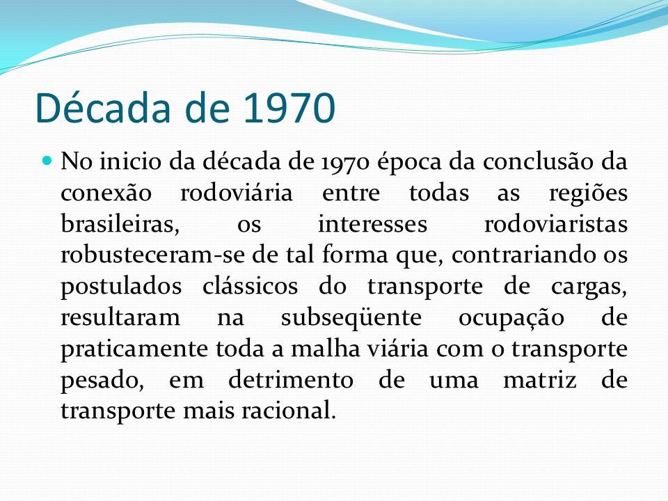 Década de 1970 No inicio da década de 1970 época da conclusão da conexão rodoviária entre todas as regiões brasileiras, os interesses rodoviaristas ro
