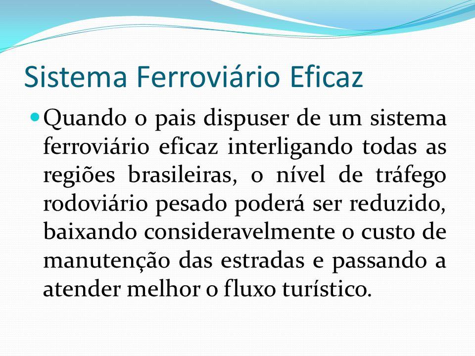 Sistema Ferroviário Eficaz Quando o pais dispuser de um sistema ferroviário eficaz interligando todas as regiões brasileiras, o nível de tráfego rodov