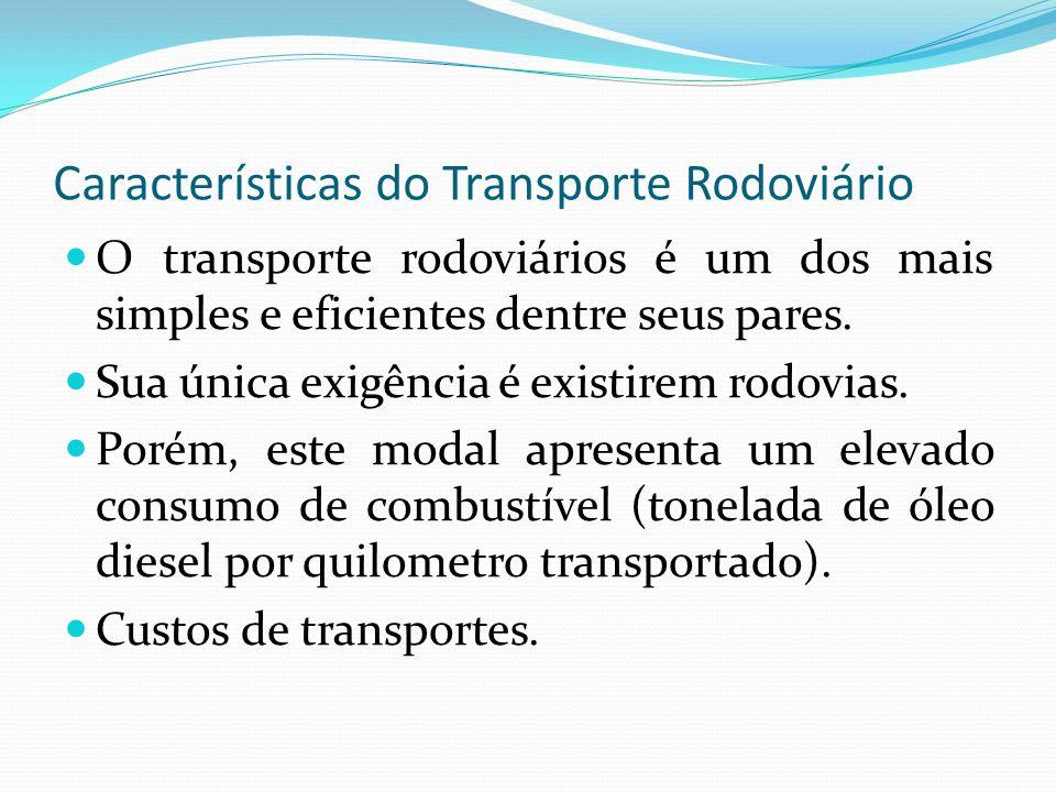 Características do Transporte Rodoviário O transporte rodoviários é um dos mais simples e eficientes dentre seus pares. Sua única exigência é existire