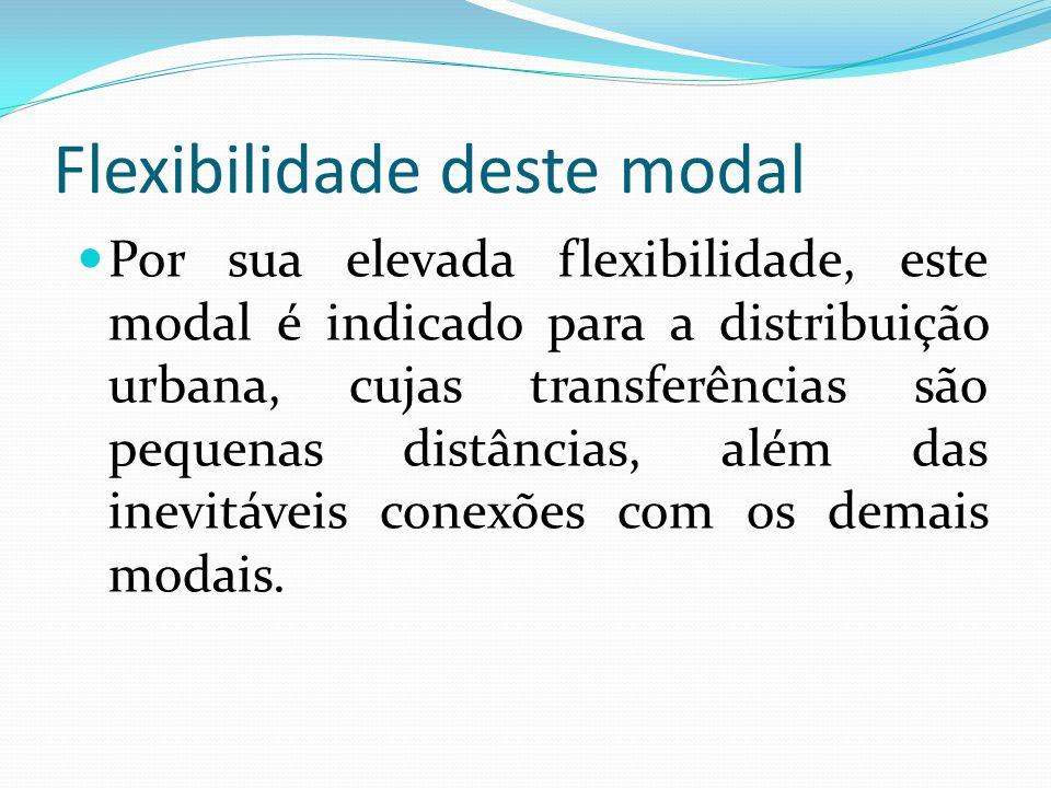 Flexibilidade deste modal Por sua elevada flexibilidade, este modal é indicado para a distribuição urbana, cujas transferências são pequenas distância