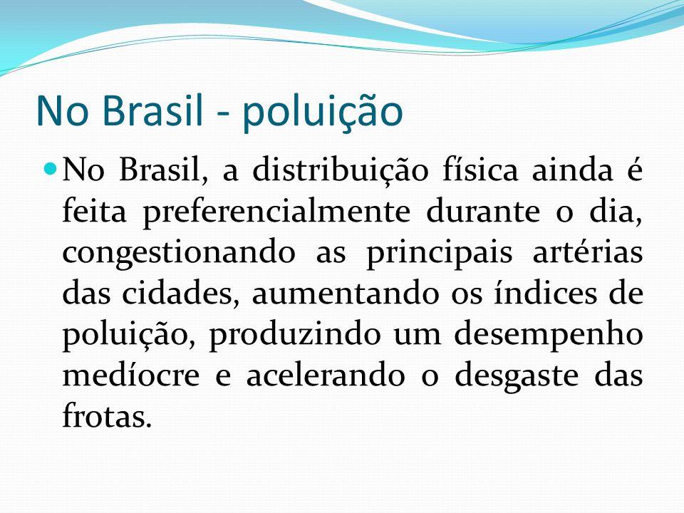 No Brasil - poluição No Brasil, a distribuição física ainda é feita preferencialmente durante o dia, congestionando as principais artérias das cidades