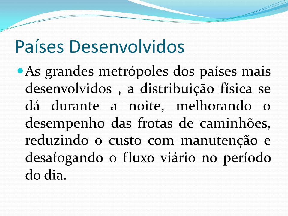 Países Desenvolvidos As grandes metrópoles dos países mais desenvolvidos, a distribuição física se dá durante a noite, melhorando o desempenho das fro